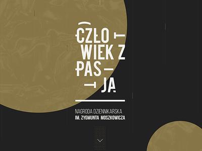 czlowiek z pasją - man with passion journalist writer award abstract typography logotype