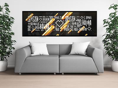typo hieroglyphe design illustration wedding gold black wide poster typogaphy