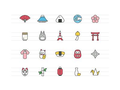 Japanese Icons (Part 1) japan totoro fuji onigiri sakura tokyo tower sushi ninja