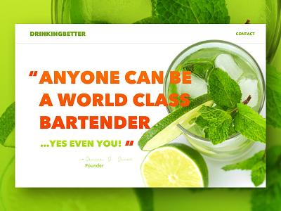 Cocktail Recipe Site  debut landingpage wine ux ui recipes ingredients flat cocktail drink design