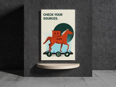 Check Your Sources shapes graphic design social media illustration horse troy fake news poster