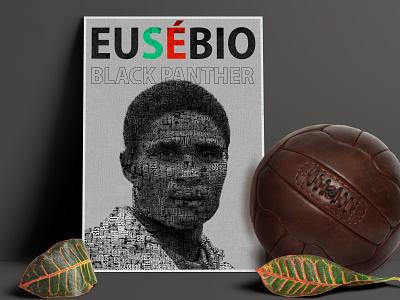 Eusébio - Portugal Legend ball black  white soccer design portrait poster design eusebio football poster