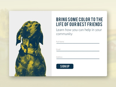 Daily UI Challenge #001 - Sign Up sign up animals duotones debut 001 dailyui
