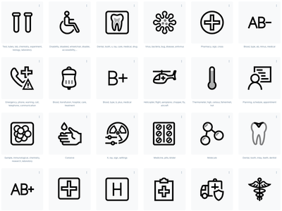 Medical icons images in transparent background