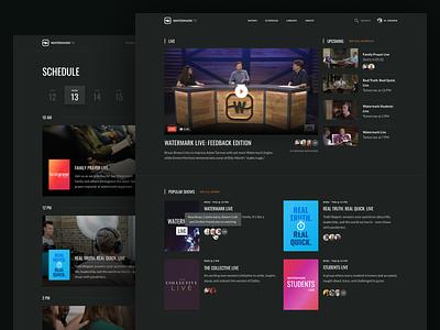 WatermarkTV typography ux ui design minimal web design digital streaming app video live schedule station channel tv web website