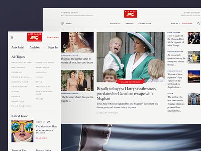Air Mail Redesign typography minimal design website concept navigation homepage ux ui digital magazine web website