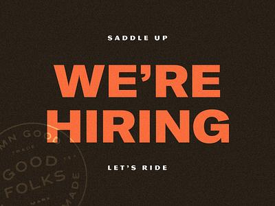 We're Hiring! update news contractor freelance leadership career job position growing lead design hiring