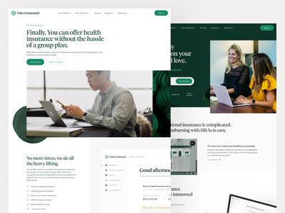 Take Command Brand & Website Redesign people startup healthcare health insurance rebrand web design logo clean illustration ux ui texture minimal design brand branding website web