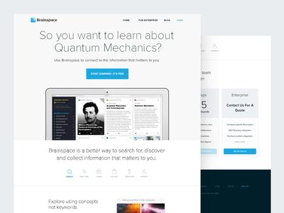Brainspace ui web landing page marketing quantum mechanics design ux search learn