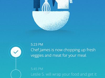 Order Placed restuarant confirmation delivery food illustration app ios ux ui