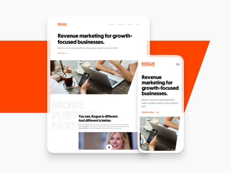Rogue Marketing Website rogue simple modern clean homepage studio agency marketing website typography ui design web