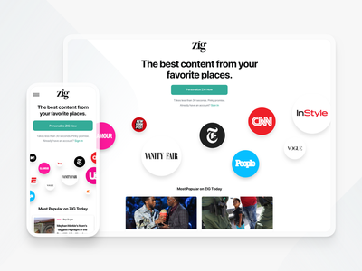 Zig mobile desktop whitespace minimal typography icon logo branding web android feed magazine content ios app website