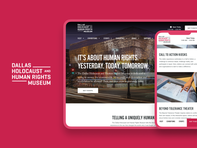 Dallas Holocaust and Human Rights Museum Website ux ui typography desktop mobile magazine ad print marketing website museum web design