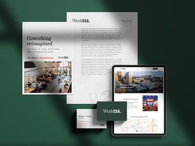 Work214 Case Study print minimal design typography identity logo brand letterhead blog mobile website ipad coworking stationary web branding
