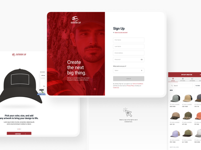 MyCap from Outdoor Cap minimal invision prototype web design website flow customize creator cap hat model ux ui app web