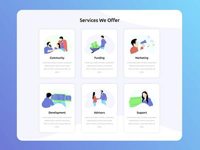 Services We Offer Section website minimal web ux site vector ui illustration branding design