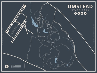 Umstead State Park Poster bike trail poster poster map poster trekking hiking activities graphic design guide trails camping park state park map trail biking vector illustration design
