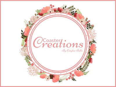 Coaster Creations rose gold logo coaster floral