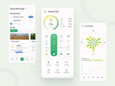 Farm Management 🌾 App Concept agriculture farm farming crops farm field agrotech smart farming automation weather weather forecast wind rose mobile app interface management time task todo ui green productive