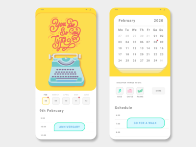 Calendar App UI typography calendar ui calendar self initiative work web designer app designer illustration illustrator graphicdesign mobile design application interface design ux uiux ui app design creative app