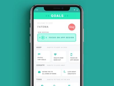 Goals 2020 App design