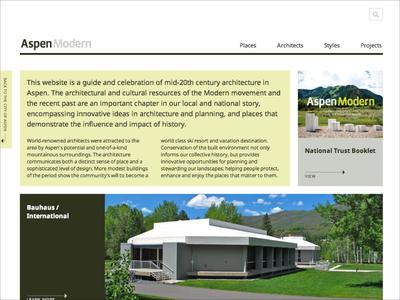 AspenModern website aspen development history modern website architecture design ui community government