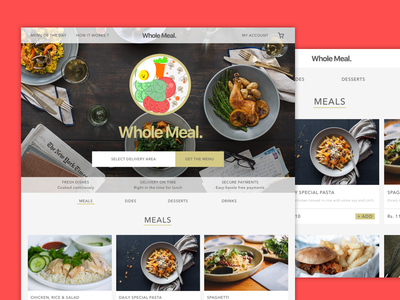 Wholemeal rich order ux ui website food ecommerce