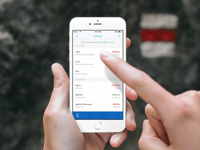 Transaction activity iphone blue money bank ux ui