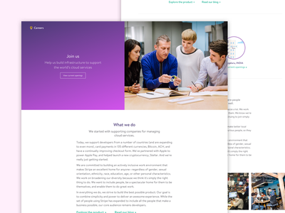 Careers page WIP for a Enterprise product company gradient website jobs product enterprise careers