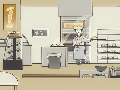 Baker in 빵빵집 Bakery painting animation illustration illustrator