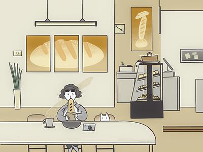 Morning bread and The White Cat drawing 그림 illust bakery illustration illustrator