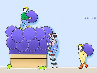 We pile them up. grapeillust 포도 운무그림 그림 cloudmoo 운무 삽화 illustrator illust illustration
