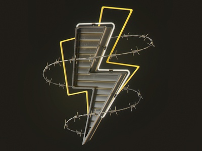 wired. - Lightning retrowave neon hardcore wire lightning cinema4d c4d cgi industrial fallout illustration 3d