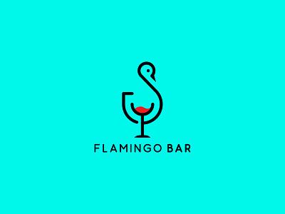 Flamingo Bar Logo Design unique flat modern branding illustration graphic design vector minimalist minimal design logo