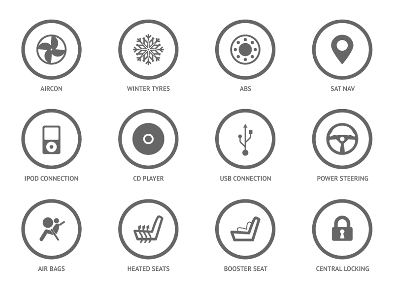 car features icons by mike mellor on dribbble