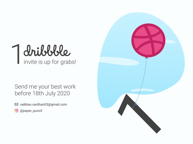 1 Dribble invite up for grabs debut clouds balloon illustration sky concept dribbble invite invite dribble