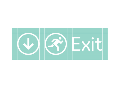 Way Finding System & Signage way finding arrow run icon pictogram signage exit