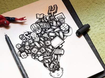 What goes in my mind designer mind pizza design ink drawing pen and paper illustration stippling