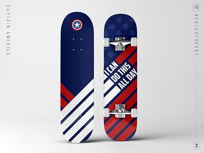 #FuturPopArt Day 3 - Captain America the futur pop art graphic design decks skateboard captain america superhero marvel avengers design illustration