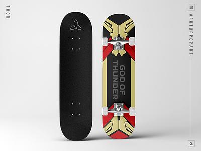 FuturPopArt Day 10 - Thor the futur marvel avengers thor skateboard pop art illustration graphic design design decks