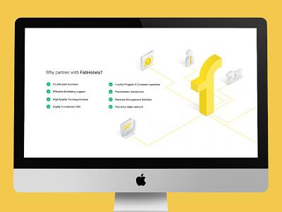 Why partner with FabHotels - Rebound hero image isometric illustration web page ui