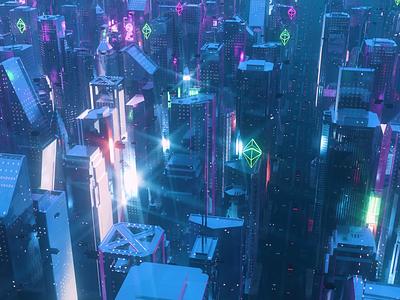 Ethereum City crypto nft animation neon design c4d 3dart 3d