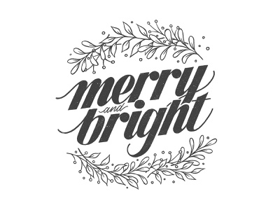 Merry & Bright script handdrawn ipad lettering lettering illustration hand lettering handlettering sketchbook drawing typography
