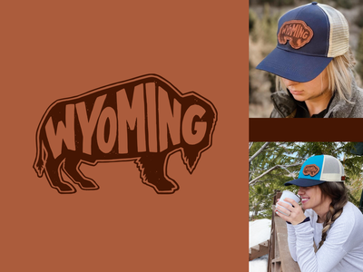 Wyoming Buffalo Illustration graphic design logo illustration physical product merch lettering handlettering design type drawing typography