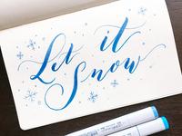 Let It Snow Brush Lettering