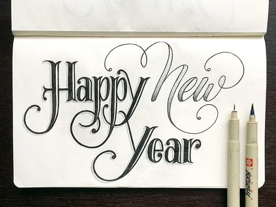 Happy New Year Lettering modern calligraphy micron pen typography type sketchbook sketch handlettering handdrawn drawing calligraphy