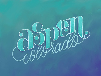 Aspen, Colorado modern calligraphy ipad pro digital painting aspen colorado skiing colorado typography type ipad handlettering drawing calligraphy