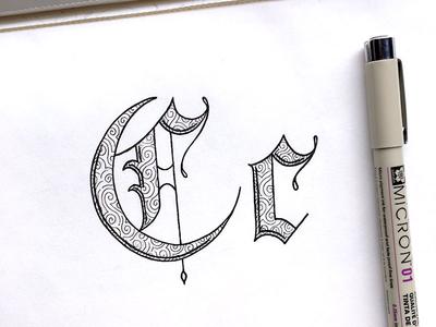 Hand Lettered C design art typography type sketchbook sketch serif handlettering handdrawn drawing calligraphy alphabet