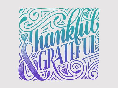 Thankful & grateful ipad lettering typography type sketchbook sketch illustration ipad handlettering handdrawn drawing design calligraphy