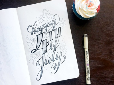 Happy 4th of July! independence day 4th of july ink typography type sketchbook sketch illustration handlettering handdrawn drawing design